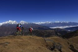 Mountain Biking on Pikey Peak, Everest, Nepal
